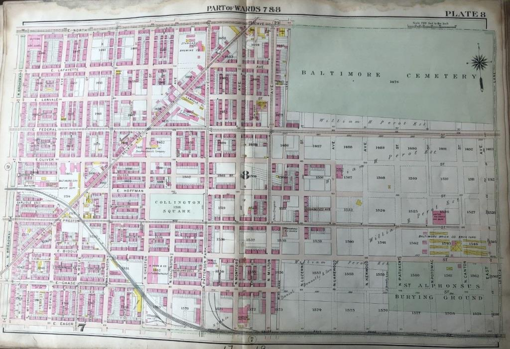 ORIGINAL 1906 MARYLAND BALTIMORE & ST. ALPHONSUS CEMETERIES PLAT ATLAS MAP