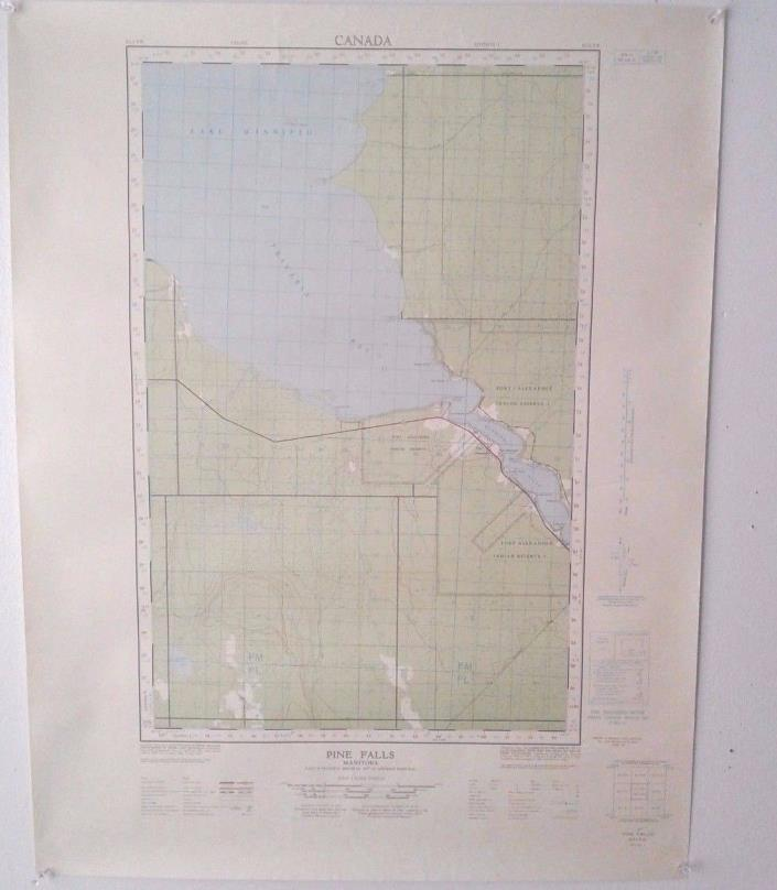 2 Vintage 1966 Topographical Maps of Pine Falls, Manitoba, Canada