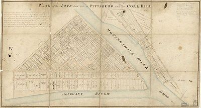 1787 Map Plan of the lots laid out at Pittsburg Pa Allegheny County 16 x 30 Map
