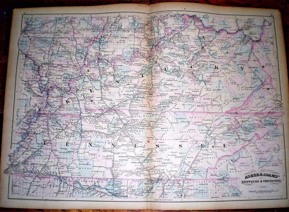 Large 1872 Hand Colored MAP of KENTUCKY & TENNESSEE ~ ASHER & ADAMS