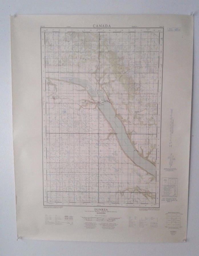 Vintage 1962 Topographical Map of Dunrea, Manitoba, Canada