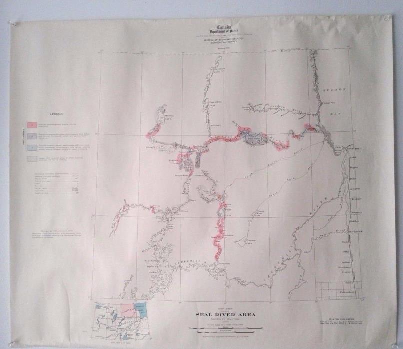 Seal River,Northern Manitoba, Canada Vintage 1936 Topographic Map