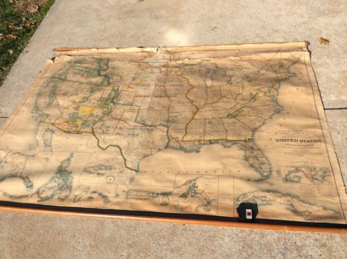 "huge cloth antique scroll US America wall map 1936 60""x84"" Dept Interior"