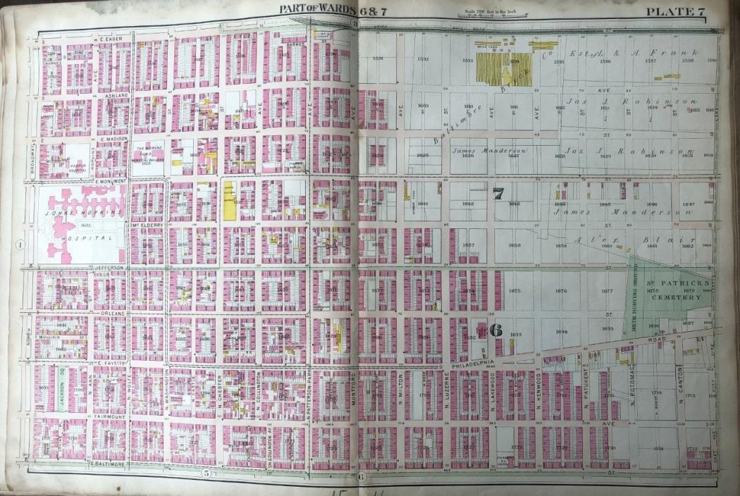 ORIGINAL 1906 BALTIMORE, MARYLAND JOHNS HOPKINS HOSPITAL P.S. 83 PLAT ATLAS MAP