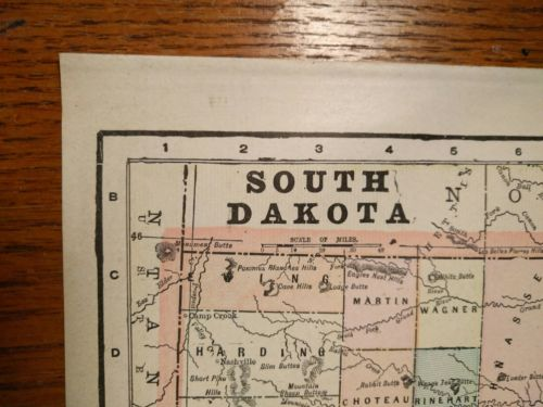 Vintage 1900 ~ SOUTH DAKOTA ~ Map Antique Original Pierre MAPZ41