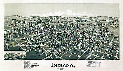 1900 Aerial Panoramic Map of Indiana Indiana County PA