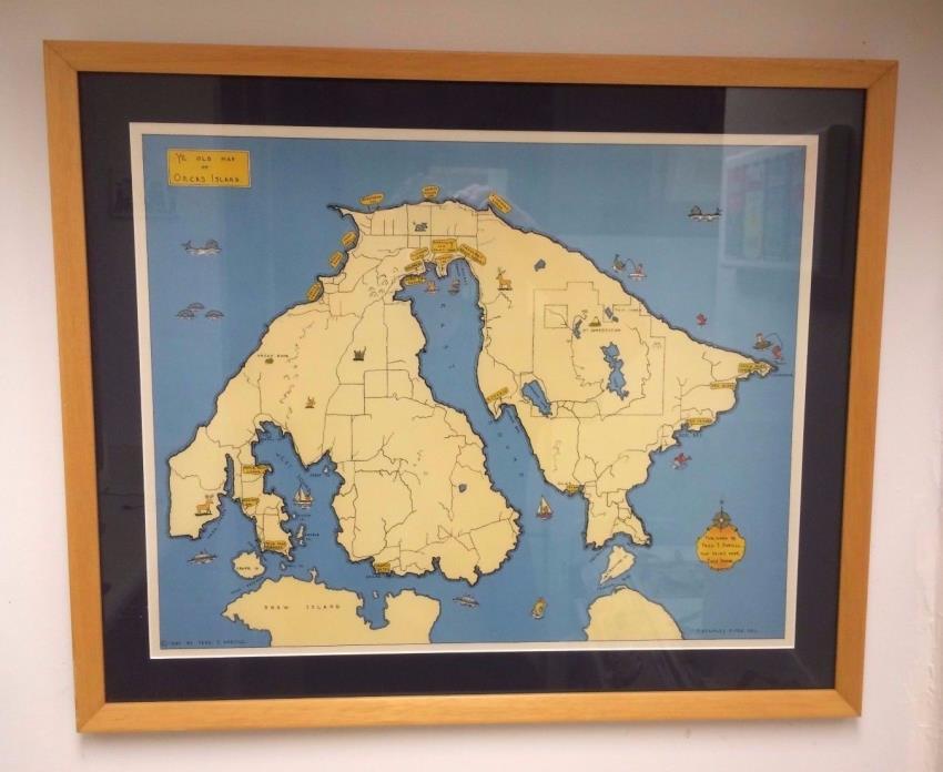 Map Orca Island Puget Sound Washington Vintage 1946 F. Stanley Piper