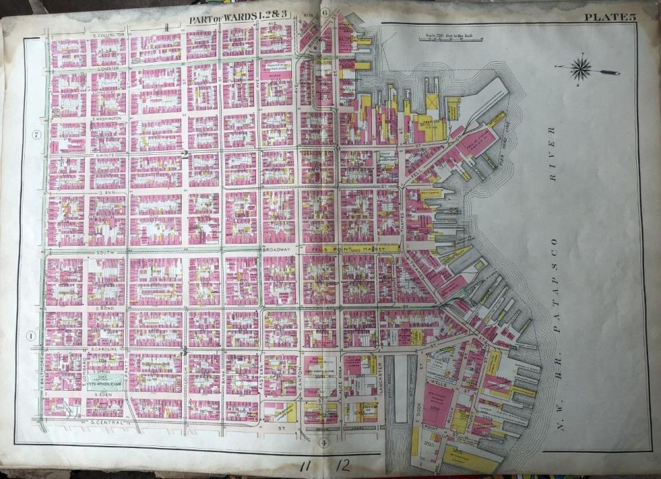 ORIG 1906 EAST BALTIMORE, MARYLAND FELLS POINT MARKET & STATION PLAT ATLAS MAP