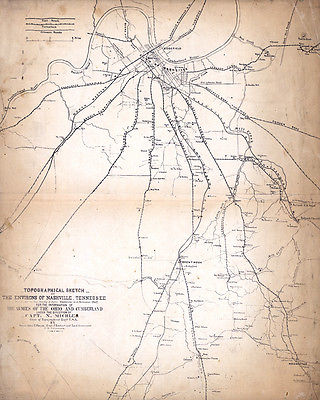 1862 Map of Nashville Tennessee area landowners