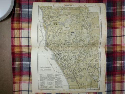 Vintage 1896 ~ BUFFALO ~ NEW YORK City Map Antique Original Johnsons Old MAPZ32