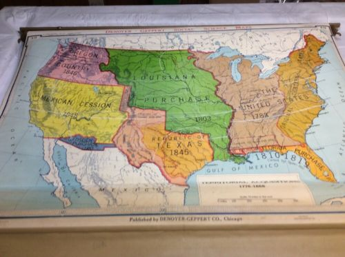 Denoyer-Geppert Territorial Acquisitions 1776-1866 USA Pull Down Map 01112A