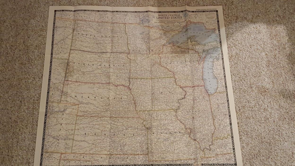 NATIONAL GEOGRAPHIC MAP NORTH CENTRAL USA June 1948 (PC)