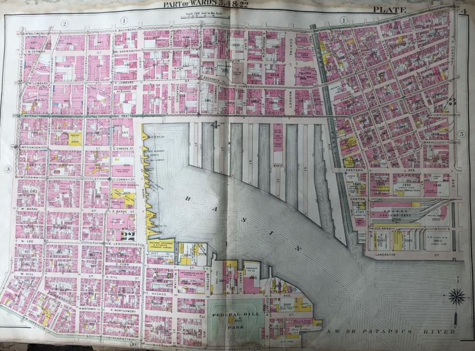 ORIGINAL 1906 BALTIMORE, MARYLAND INNER HARBOR FEDERAL HILL PARK PLAT ATLAS MAP