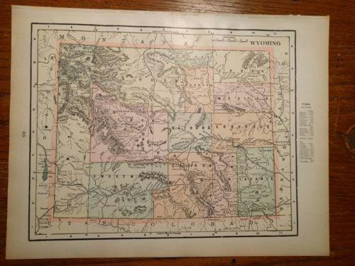 Vintage 1900 ~ WYOMING ~ Map Antique Original 14 1/2