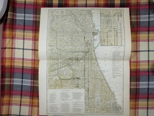 1896 CHICAGO ILLINOIS Map Antique Original Johnsons Cook Lake Will County MAPZ13