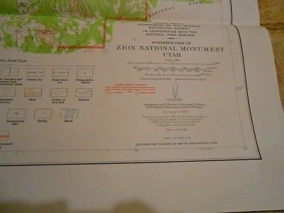 U.S. Geological Survey, Northern Zion National Monument, Utah, 1946 Map