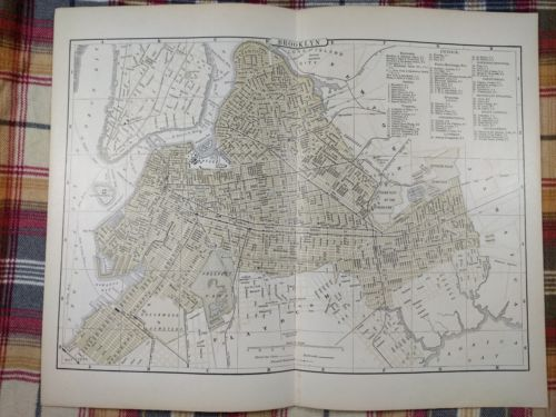 1896 BROOKLYN NEW YORK Map Antique Original Johnsons Manhattan Queens RR MAPZ32
