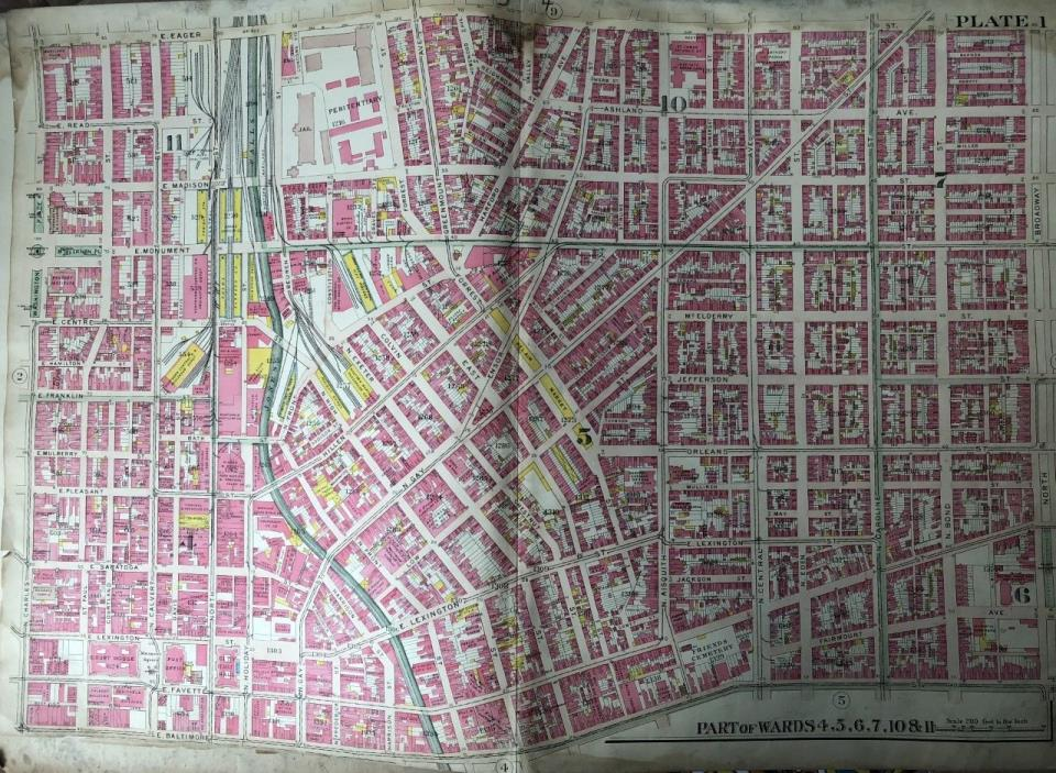 ORIG 1906 G.W. BROMLEY BALTIMORE, MARYLAND LATROBE HOMES BELAIR MARKET ATLAS MAP