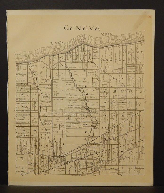 Ohio Ashtabula County Map Geneva Township 1905 !W16#53