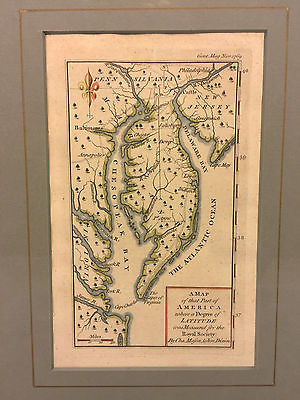 Mason & Dixon 1769 Hand Colored Engraving of