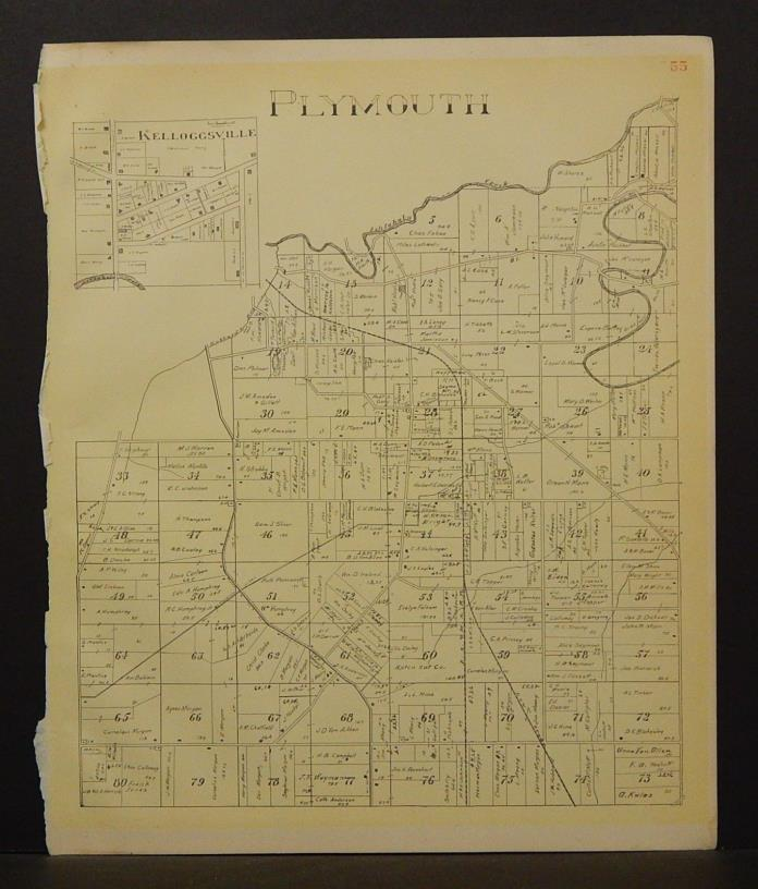 Ohio Ashtabula County Map Plymouth Township 1905 !W16#52