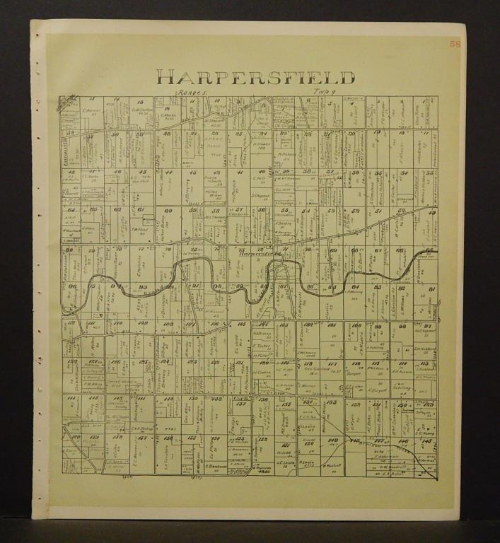 Ohio Ashtabula County Map Harpersfield Township 1905 !W16#50