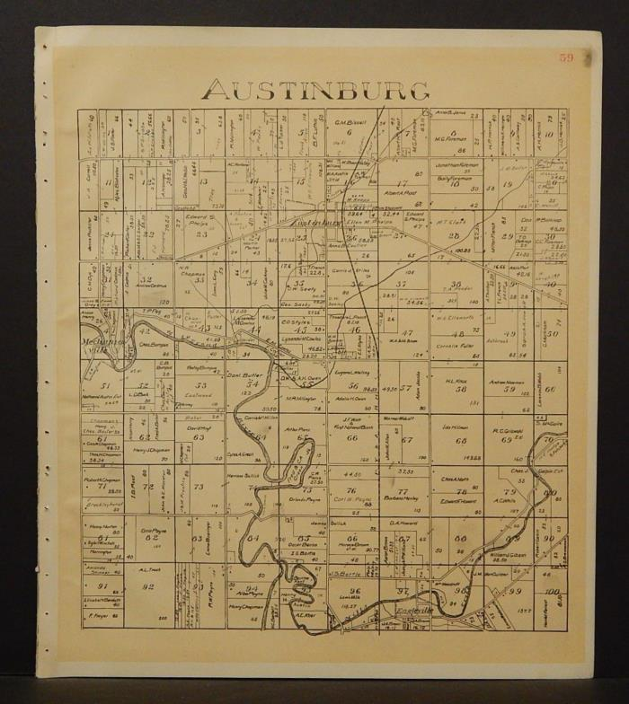 Ohio Ashtabula County Map Austinburg Township 1905 !W16#49