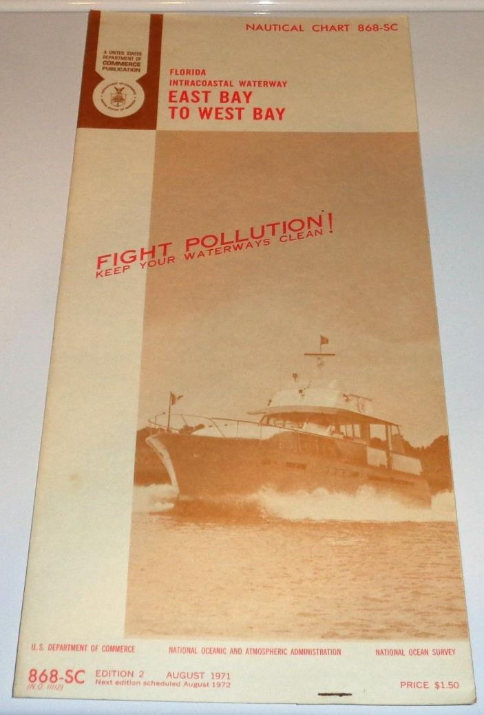 Aug 1971 Vintage Nautical Chart Florida Waterways East Bay To West Bay
