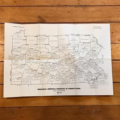 Vintage Pennsylvania Industrial Minerals USGS Original Chart Map