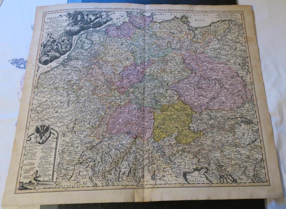 ORIGINAL 1732 Homann Heirs,Hubner hand-colored map,Roman germany, 24.5