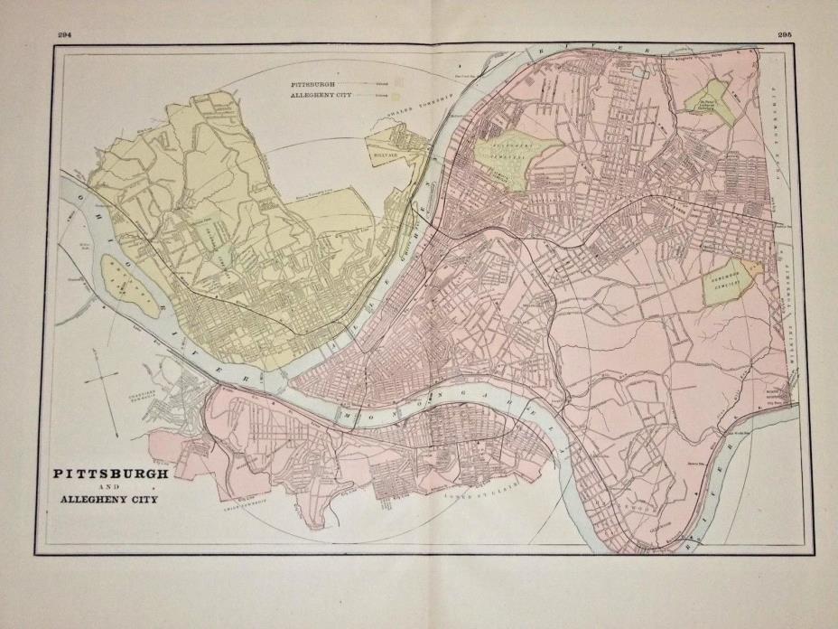Antique 1890 Map, PITTSBURGH City or Cincinnati & Columbus, ORIGINAL Atlas Map