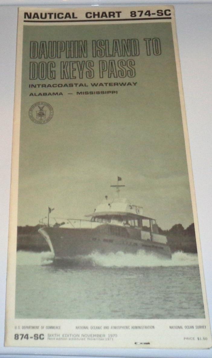 Nov 1970 Vintage Nautical Chart Dauphin Island To Dog Keys Pass Free U.S. S/H