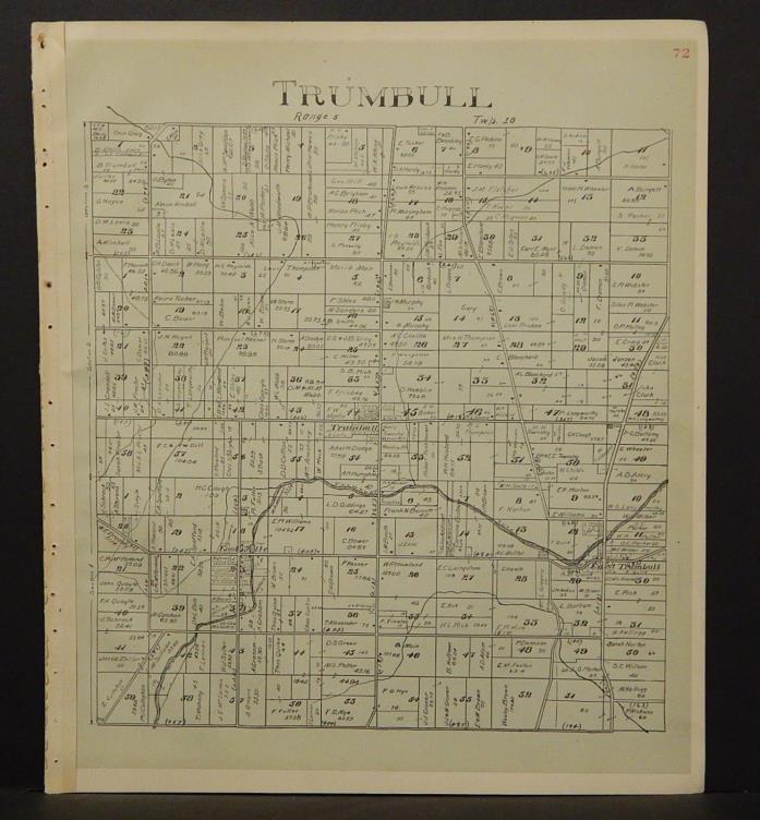 Ohio Ashtabula County Map Trumbull Township 1905 !W16#45