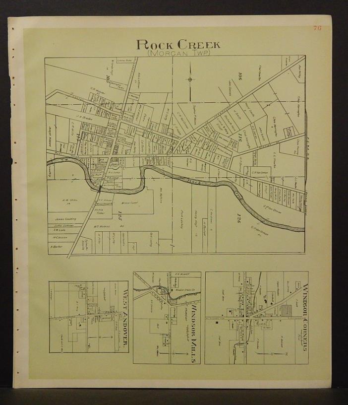 Ohio Ashtabula County Map Rock Creek Township 1905 !W16#43