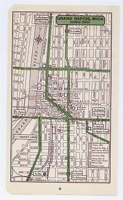 1951 ORIGINAL VINTAGE MAP OF GRAND RAPIDS MICHIGAN DOWNTOWN BUSINESS CENTER