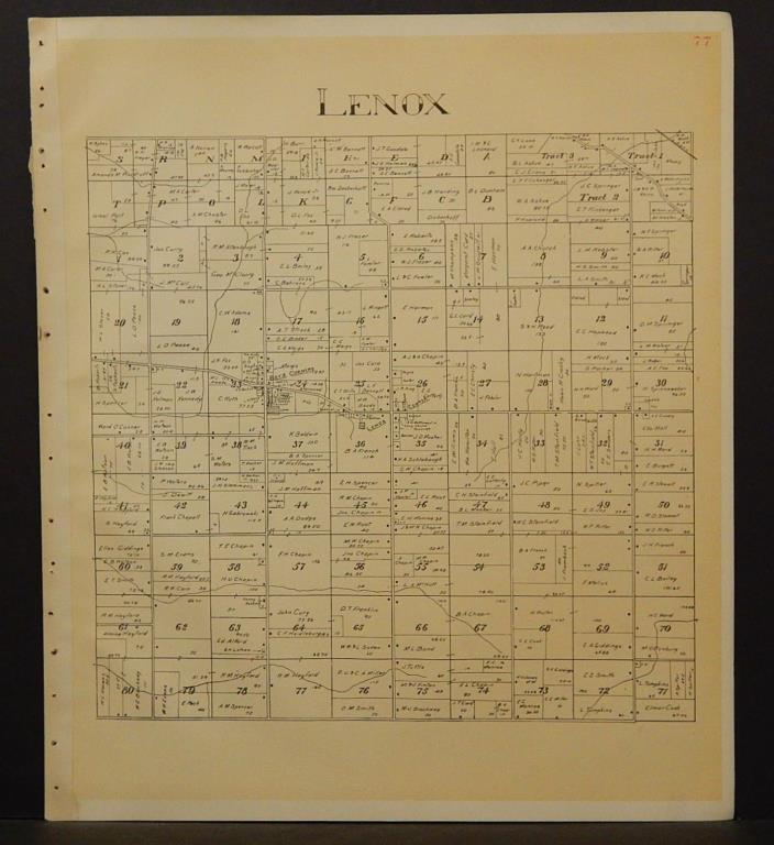 Ohio Ashtabula County Map Lenox Township 1905 !W16#42