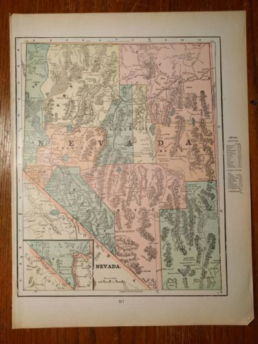 Vintage 1900 ~ NEVADA Map Antique TURN OF THE CENTURY Original 11