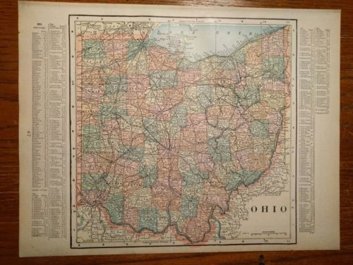1900 OHIO Map Antique Original Reds Indians Cavs Bengals Vintage Browns MAPZ35