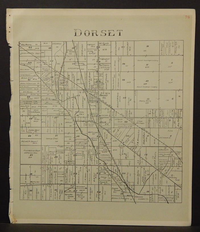 Ohio Ashtabula County Map Dorset Township 1905 !W16#41