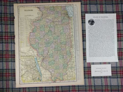 Vintage 1902 ILLINOIS Map Antique Original Chicago Cubs Bulls Old Bears MAPZ13