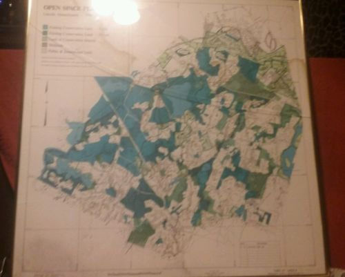 RARE SURVEY MAP 1988 LINCOLN MASSACHUSETTS MAP.