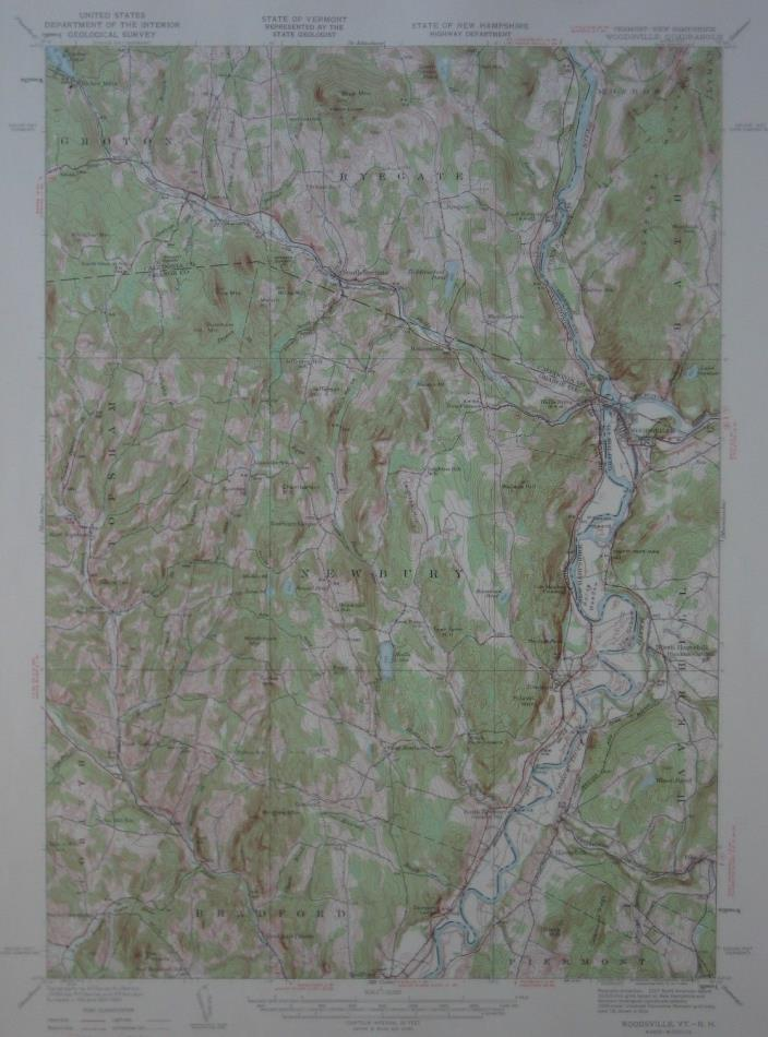 1935 USGS Topo Map TOPSHAM Vermont WOODSVILLE New Hampshire Ryegate B&M Railroad
