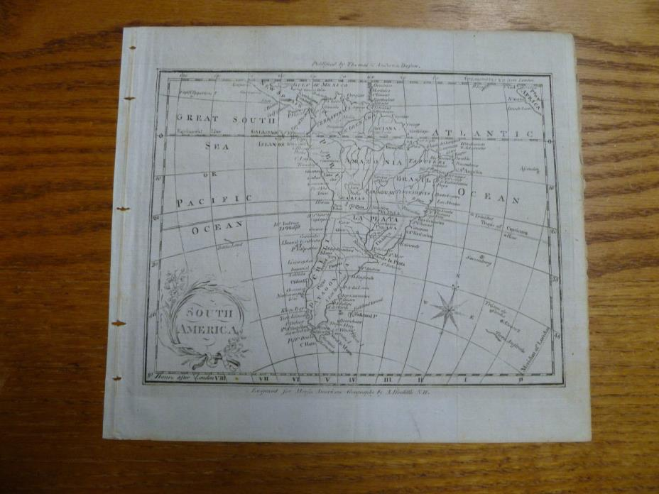 1793 Map of South America-A.Doolittle-Thomas & Andrews , Boston-Laid Paper