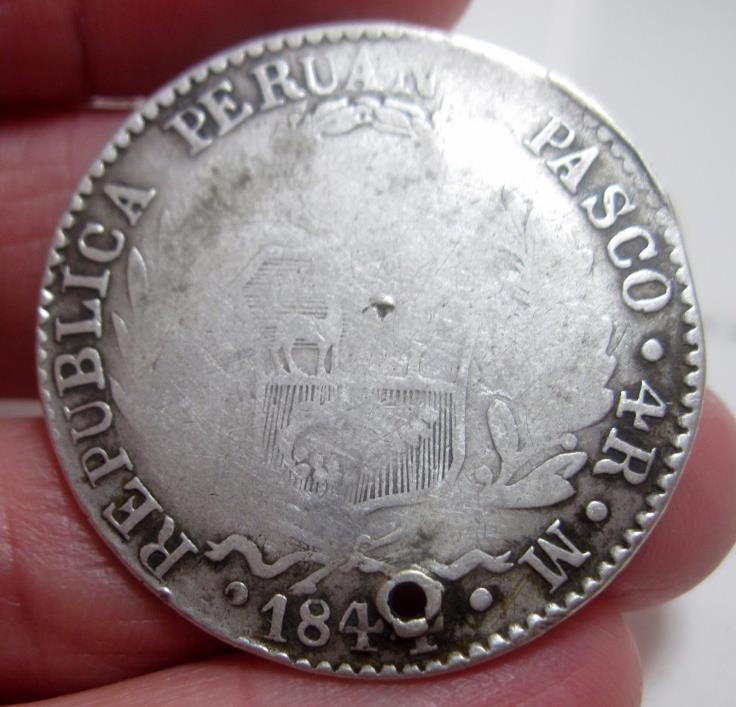 1844 (PERU) 4 REALES (PASCO) SILVER *** PASCO *** -------very very rare------