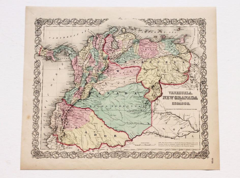 1855 New Granada Venezuela Map Ecuador Panama South America ORIGINAL RARE