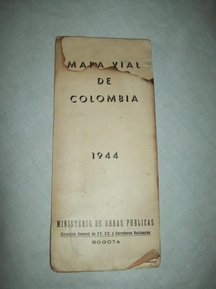 scarce Mapa Vial de Colombia Colombian govt fold out Map Bogota 1944 59