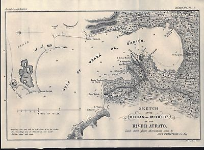 Atrato River Colombia Antique Map 1854
