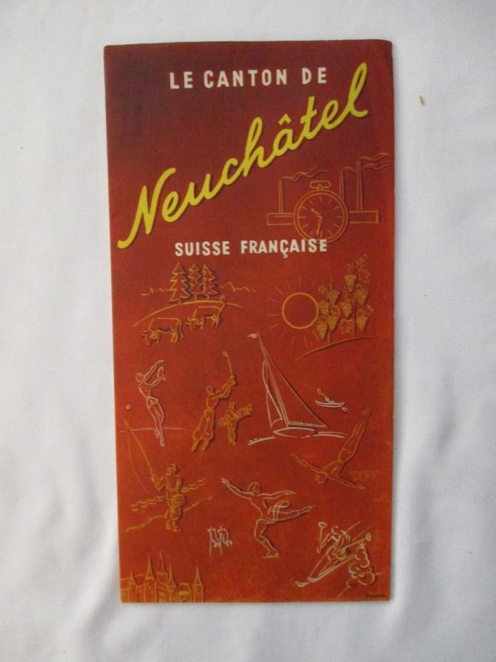 Vintage Map of Switzerland Canton De Vaud / Du Valais / De Geneve / Neuchatel