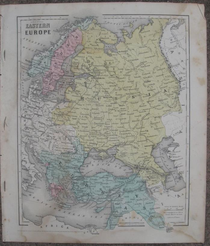1860 Two Antique Maps - EASTERN EUROPE & ASIA (Physical) - J.H.Colton Atlas