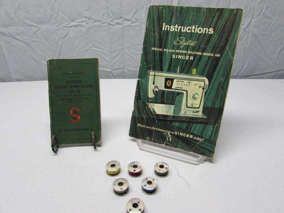 2 Vintage Instructions Book Singer Portable Electric Sewing Machine w/ 6 Bobbins